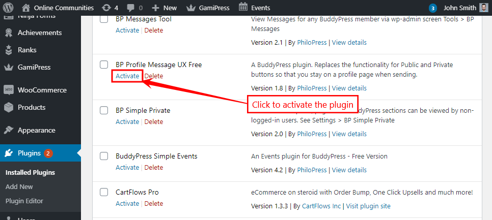 BuddyMessageUX Free - Activating the plugin