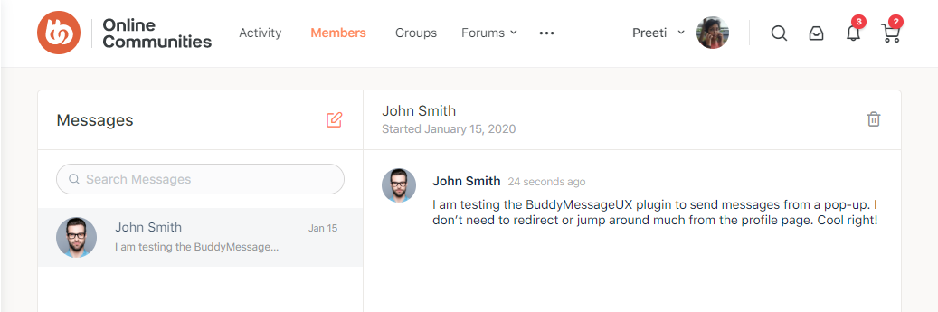 BuddyMessageUX Free  - Direct message received preview