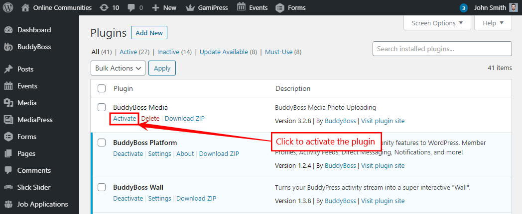 BuddyBoss Media - Activating the plugin