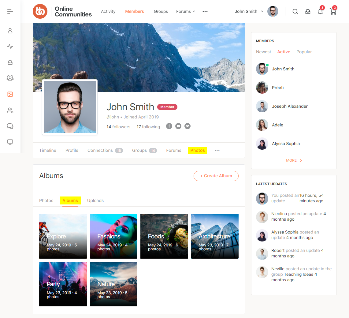 BuddyBoss Media - Albums preview on user's profile