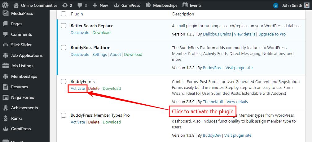 BuddyForms - Activating the plugin