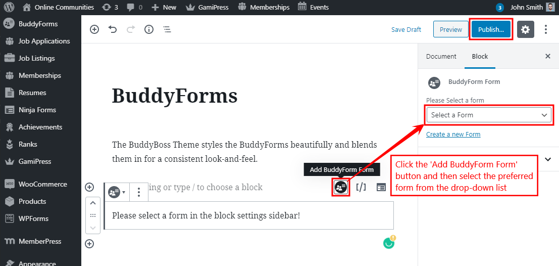 BuddyForms - Adding the form to a page