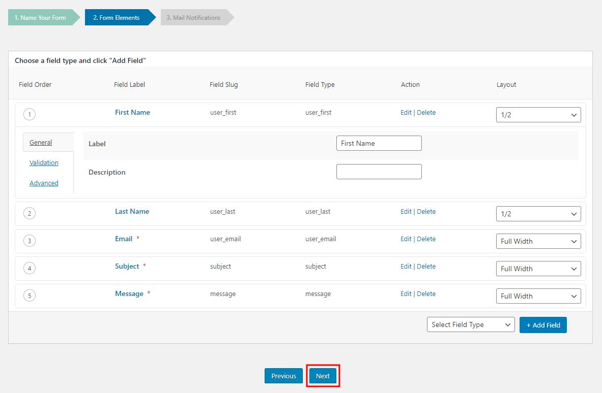 BuddyForms - Editing the form