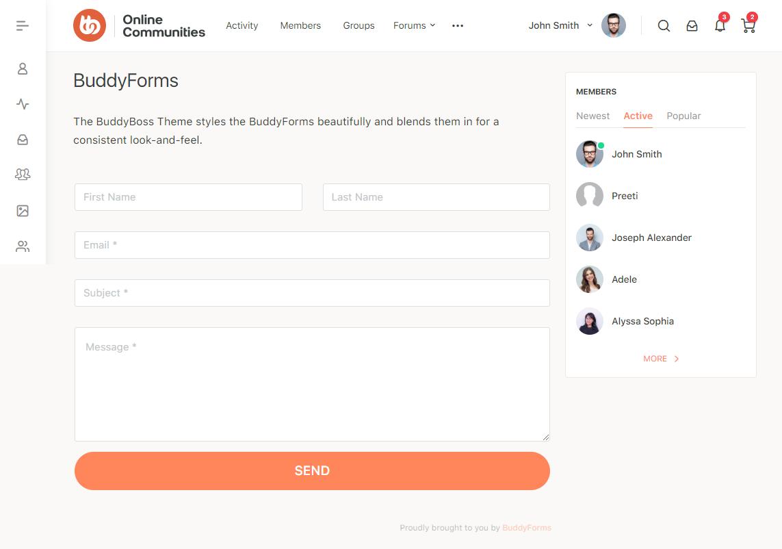 BuddyForms - Form Preview with the BuddyBoss Theme