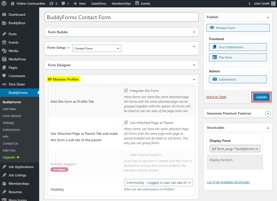 BuddyForms Members - Editing an existing form for the BuddyForms Members plugin