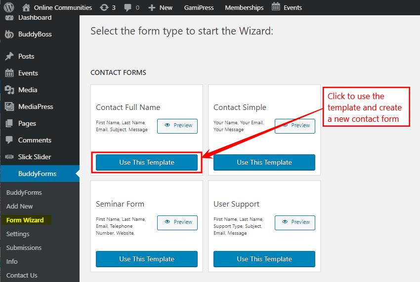 BuddyForms - Selecting a form template
