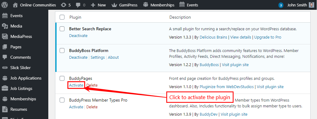 BuddyPages - Activating the plugin