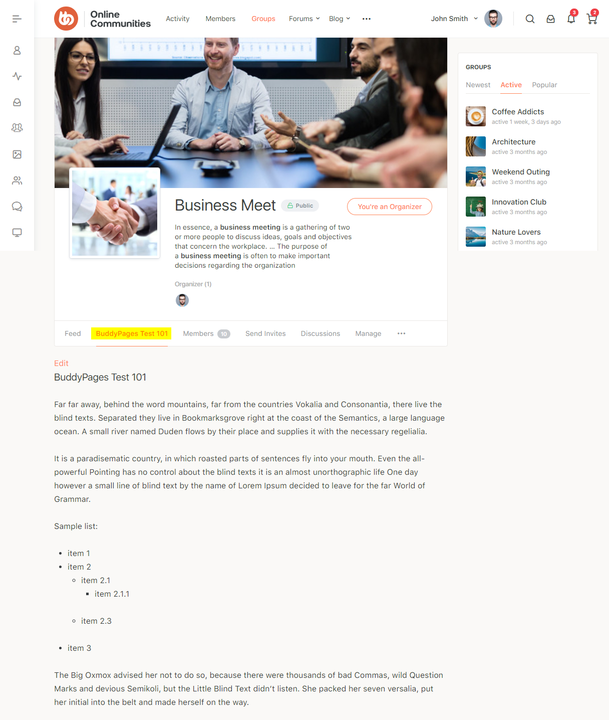 BuddyPages - Group page preview