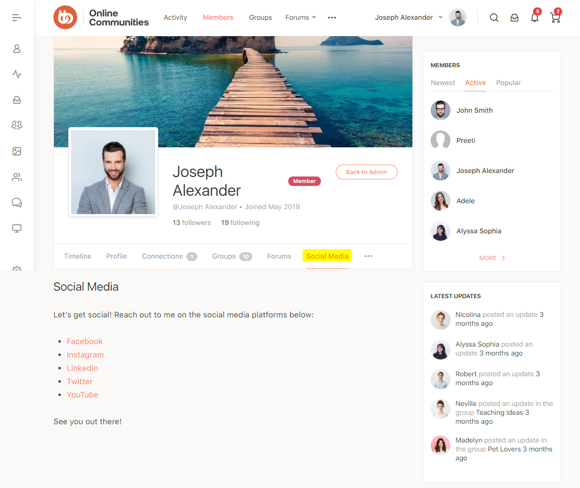 BuddyPages - Profile page preview