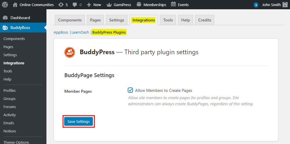 BuddyPages - Setting up the plugin