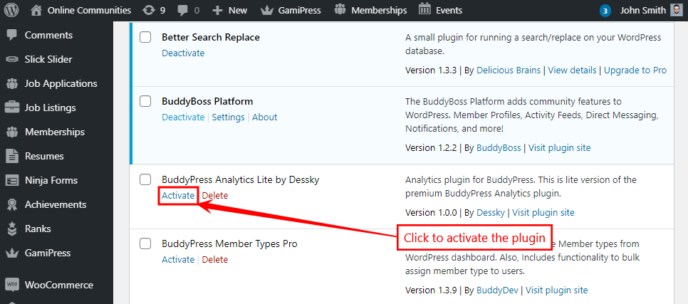 BuddyPress Analytics - Activating the plugin