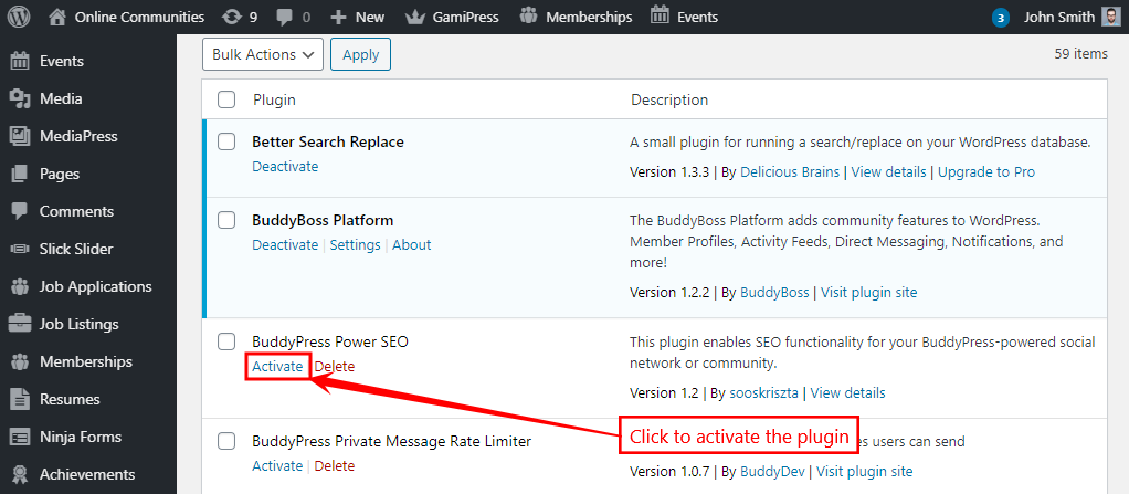 BuddyPress Power SEO - Activating the plugin