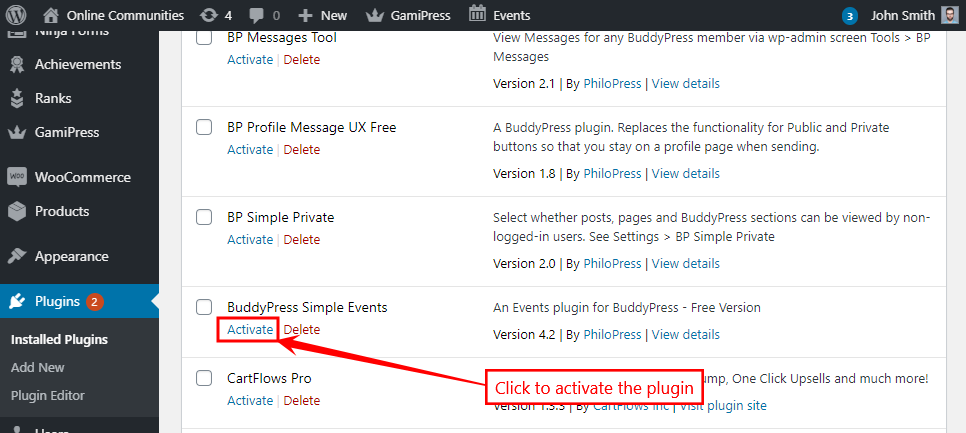 BuddyPress Simple Events - Activating the plugin