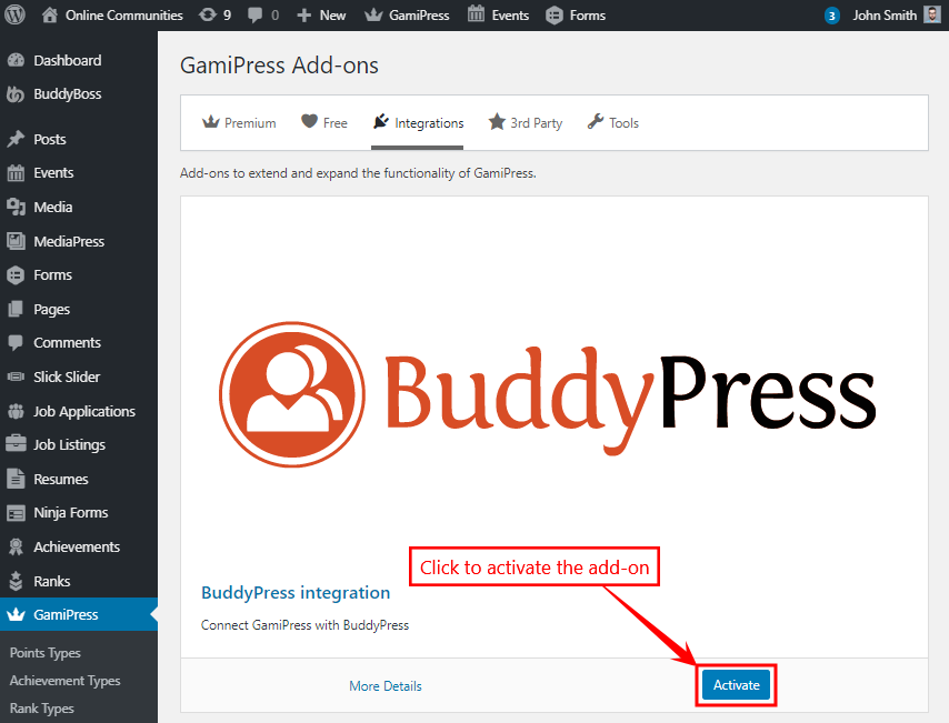 GamiPress + BuddyPress Integration - Activating the add-on