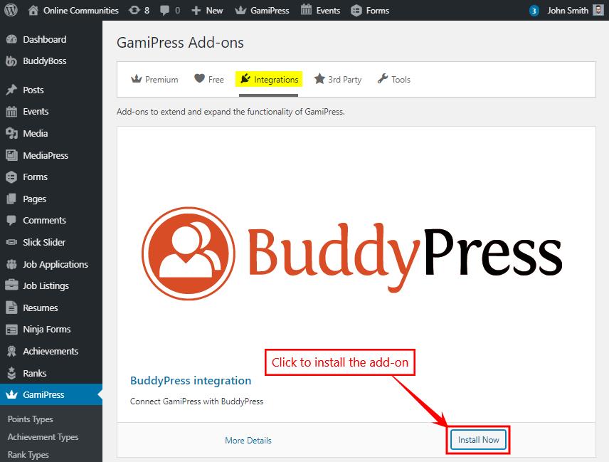 GamiPress + BuddyPress Integration - Installing the add-on