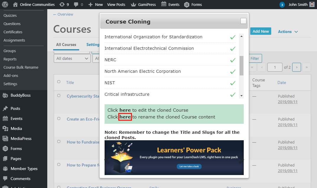 LearnDash Content Cloner  - Renaming the cloned course content