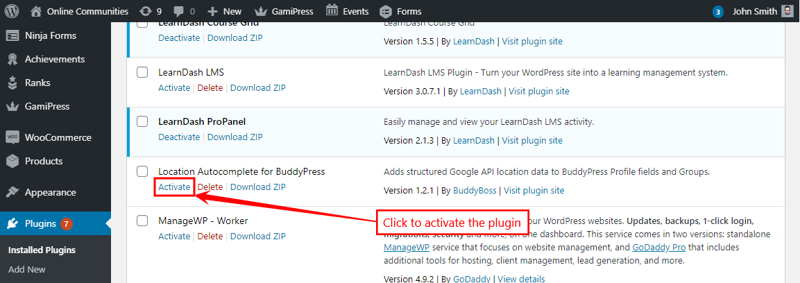 Location Autocomplete for BuddyPress - Activating the plugin