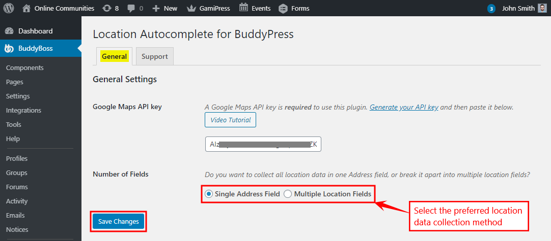 Location Autocomplete for BuddyPress - Setting up the plugin