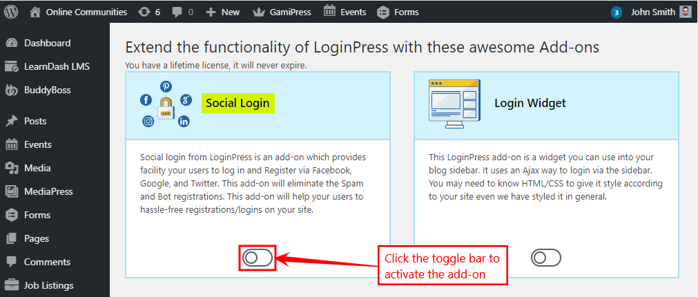 LoginPress Add-ons - Activating an add-on