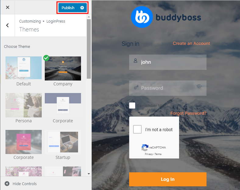 LoginPress - Changing the theme of the login page