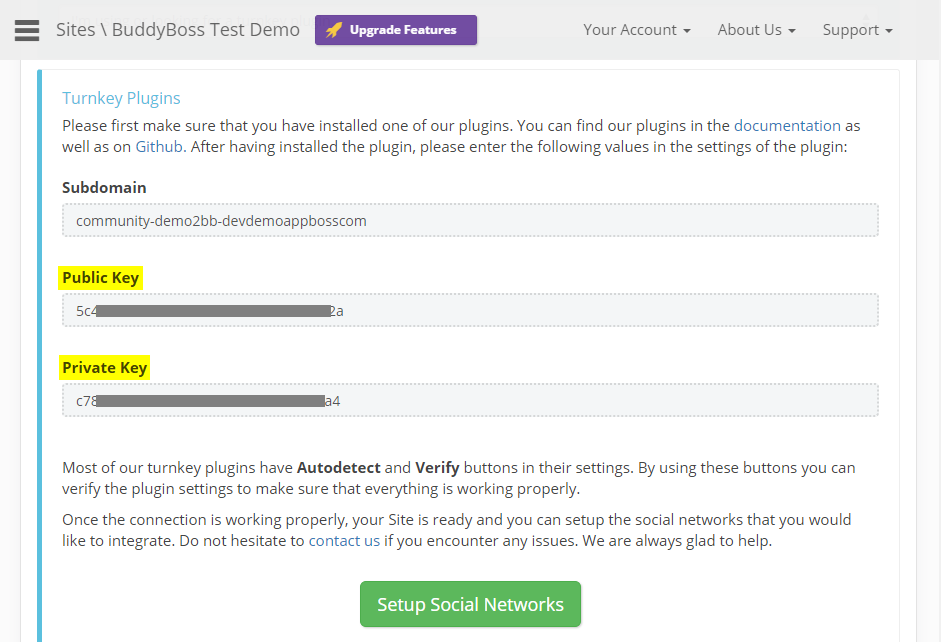 Social Login - Setting up the website in OneAll step 3