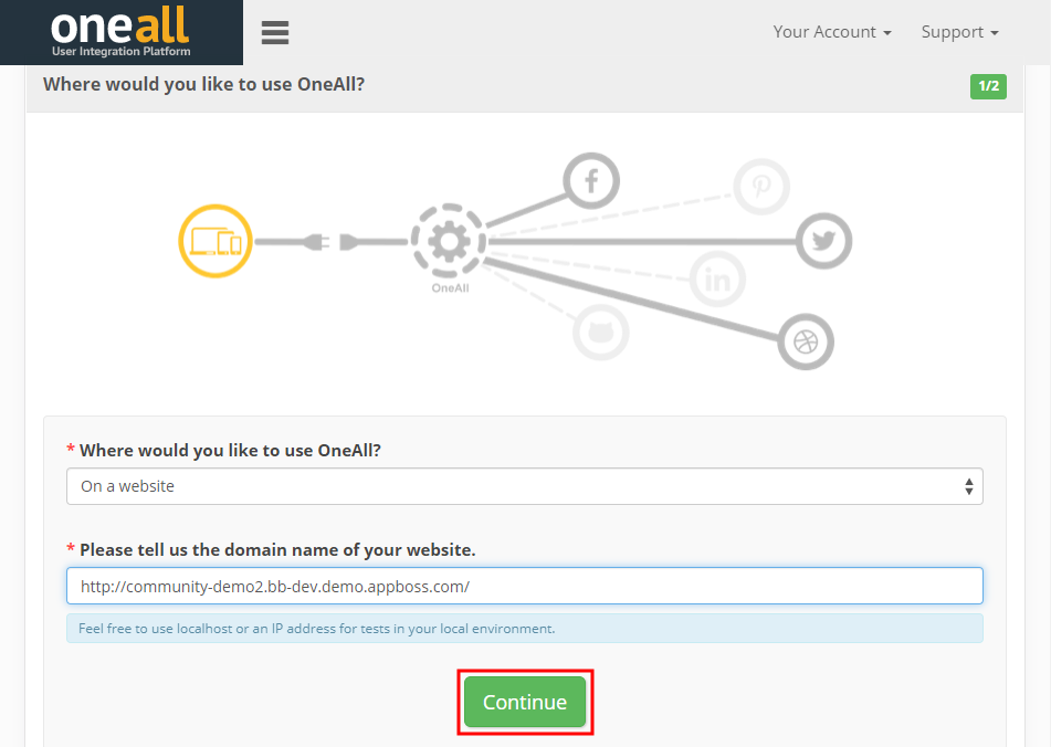 Social Login - Setting up the website in OneAll