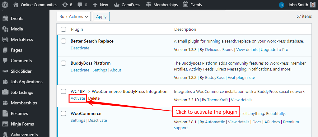 WC4BP - WooCommerce BuddyPress Integration - Activating the plugin