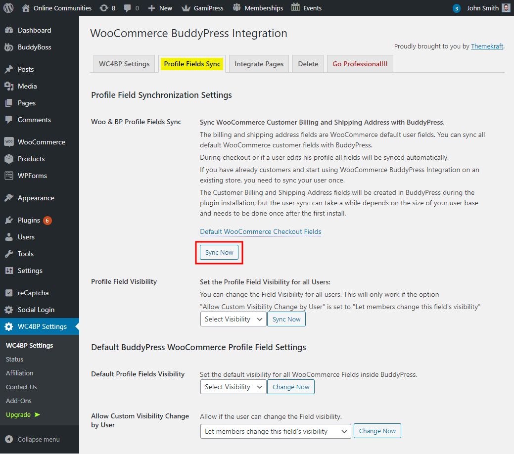 WC4BP - WooCommerce BuddyPress Integration - Setting up the plugin