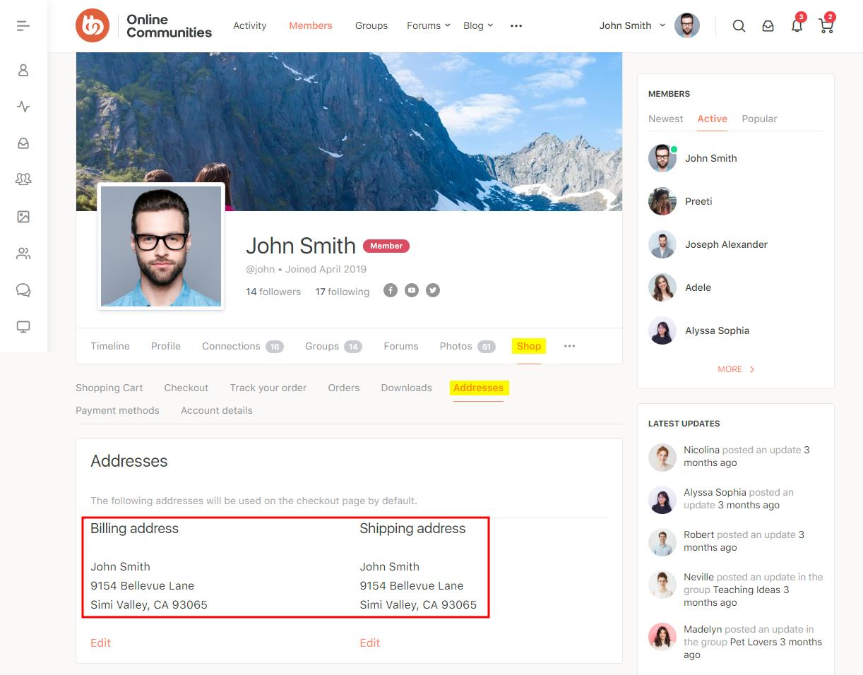 WC4BP - WooCommerce BuddyPress Integration - WooCommerce account addresses of a user