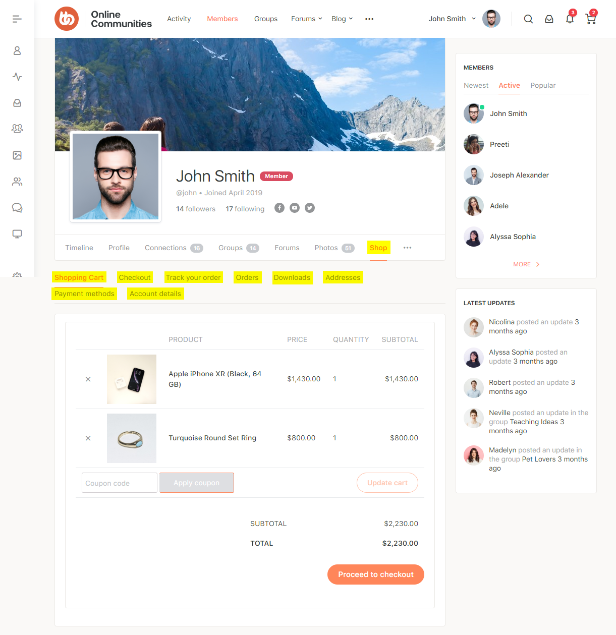 WC4BP - WooCommerce BuddyPress Integration - WooCommerce pages on a user's profile