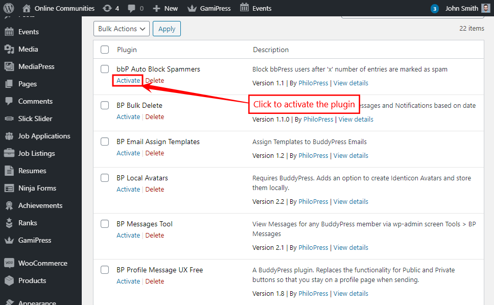 bbPress Auto Block Spammers - Activating the plugin