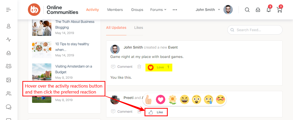 Activity Reactions For BuddyPress - Giving reactions on activity feeds