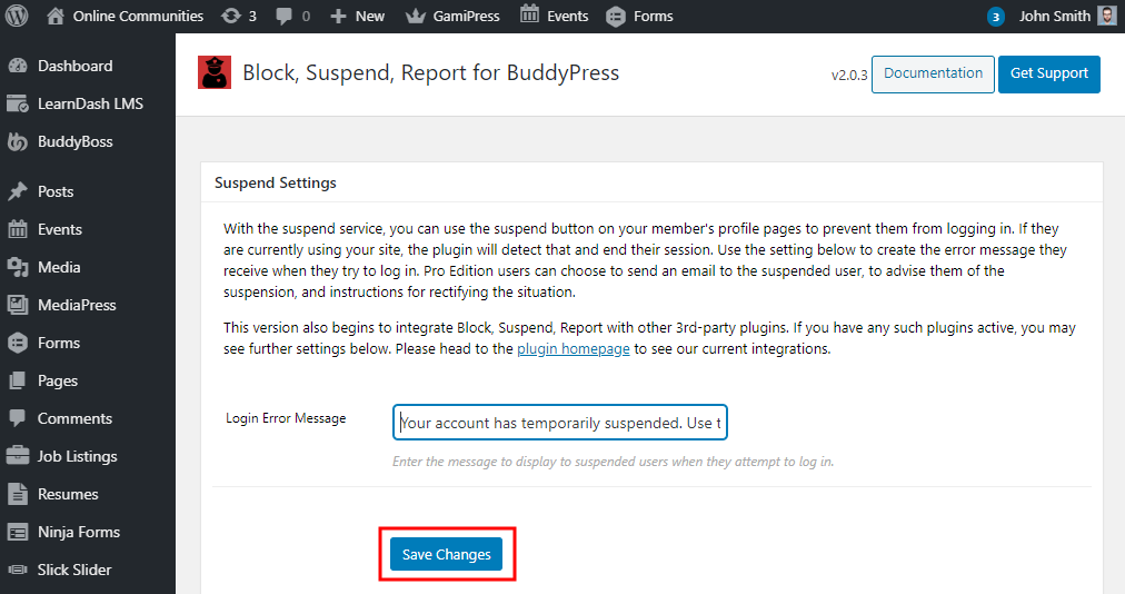 Block, Suspend, Report for BuddyPress - Configuring the Suspend Settings