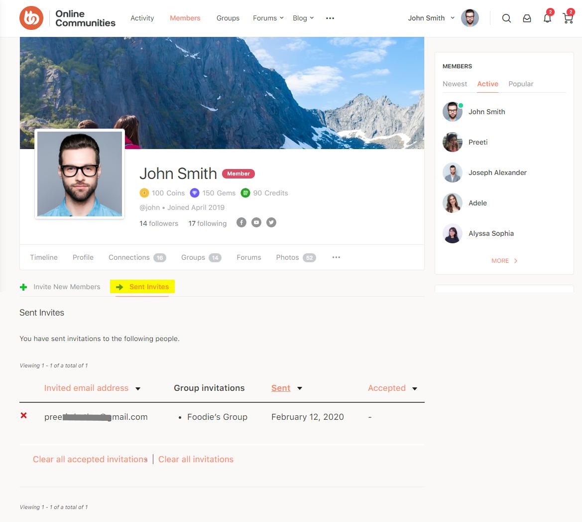 BuddyPress Registration Options - Sent invites preview