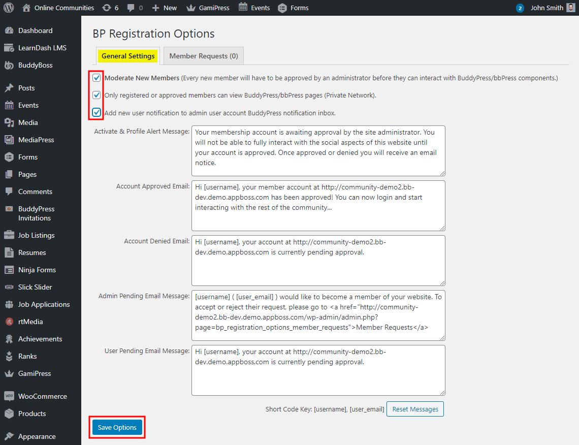 BuddyPress Registration Options - Setting up the plugin