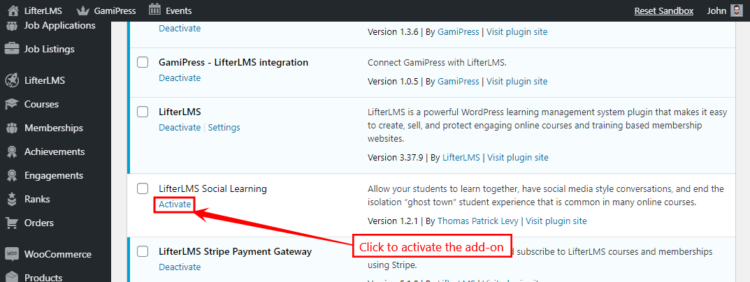 LifterLMS Add-ons - Activating an add-on