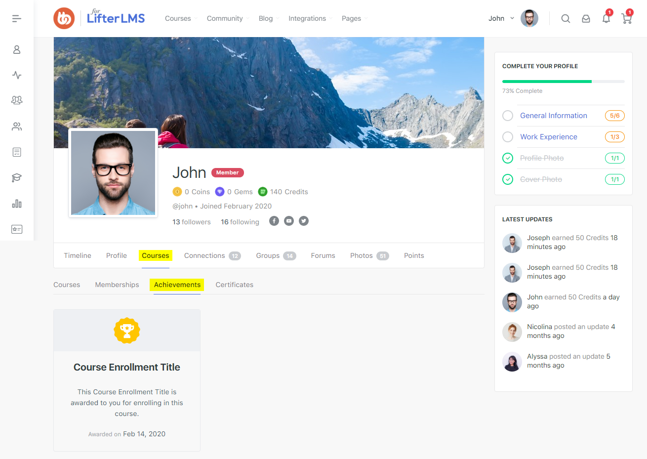 LifterLMS - BuddyPress Integration - Courses - Achievements tab preview