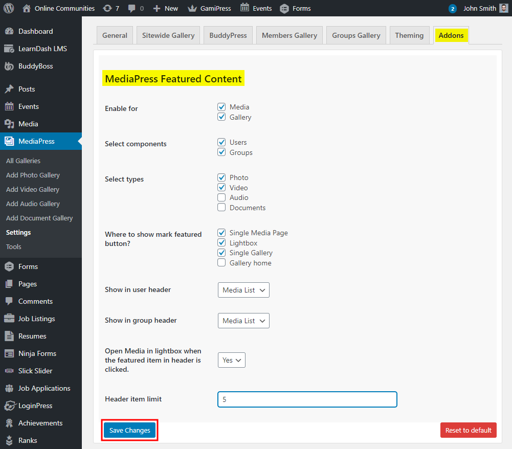 MediaPress Featured Content - Setting up the plugin