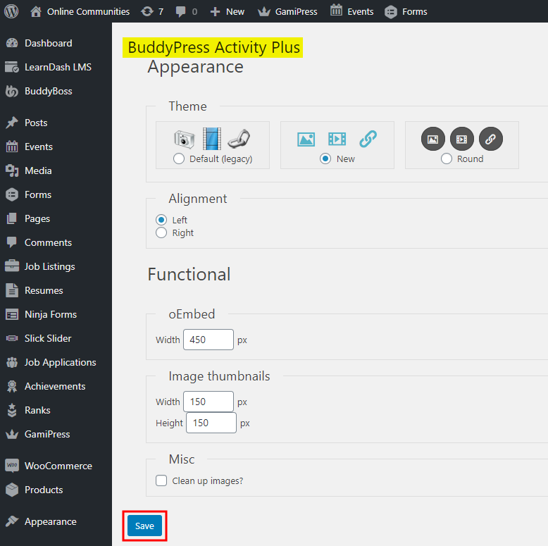 Activity Plus Reloaded for BuddyPress - Setting up the plugin