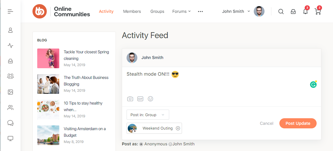 BuddyPress Anonymous Activity - Posting anonymously in a group