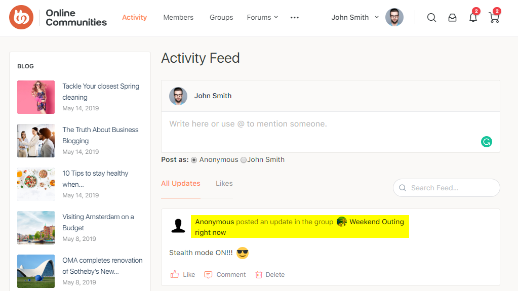 BuddyPress Anonymous Activity - Preview of anonymously posted update in a group