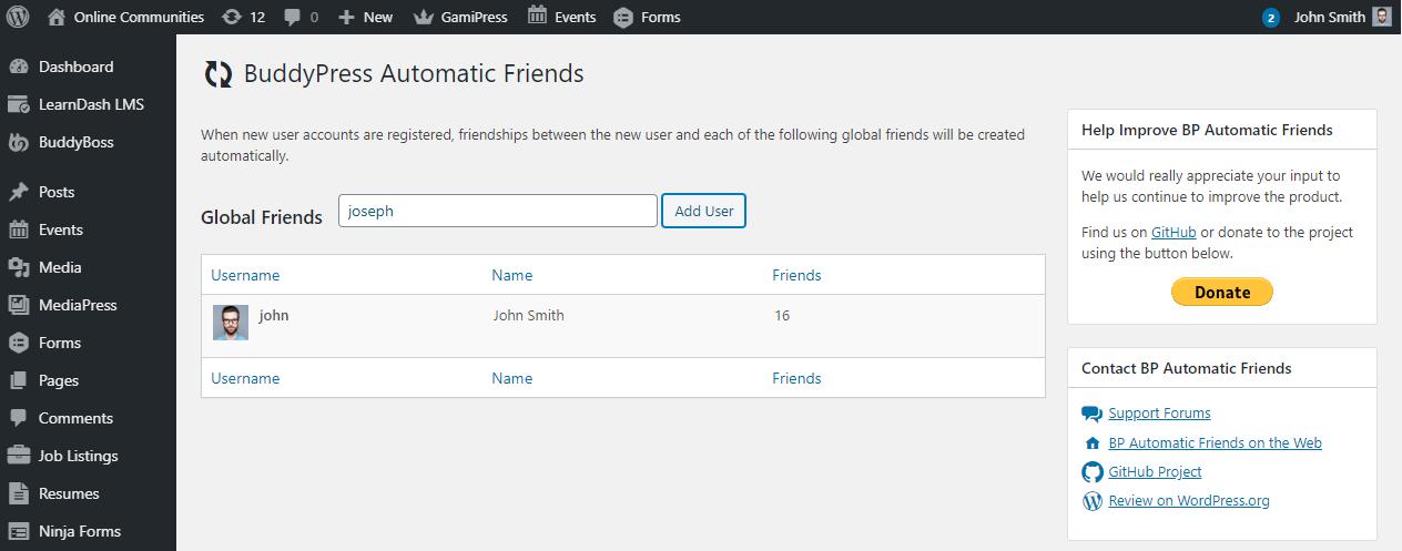 BuddyPress Automatic Friends - Adding automatic friends