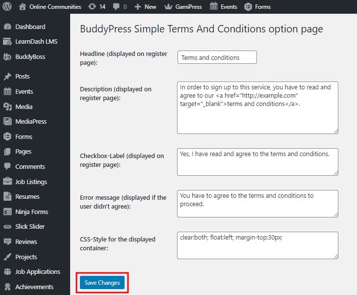 BuddyPress Simple Terms And Conditions - Setting up the plugin