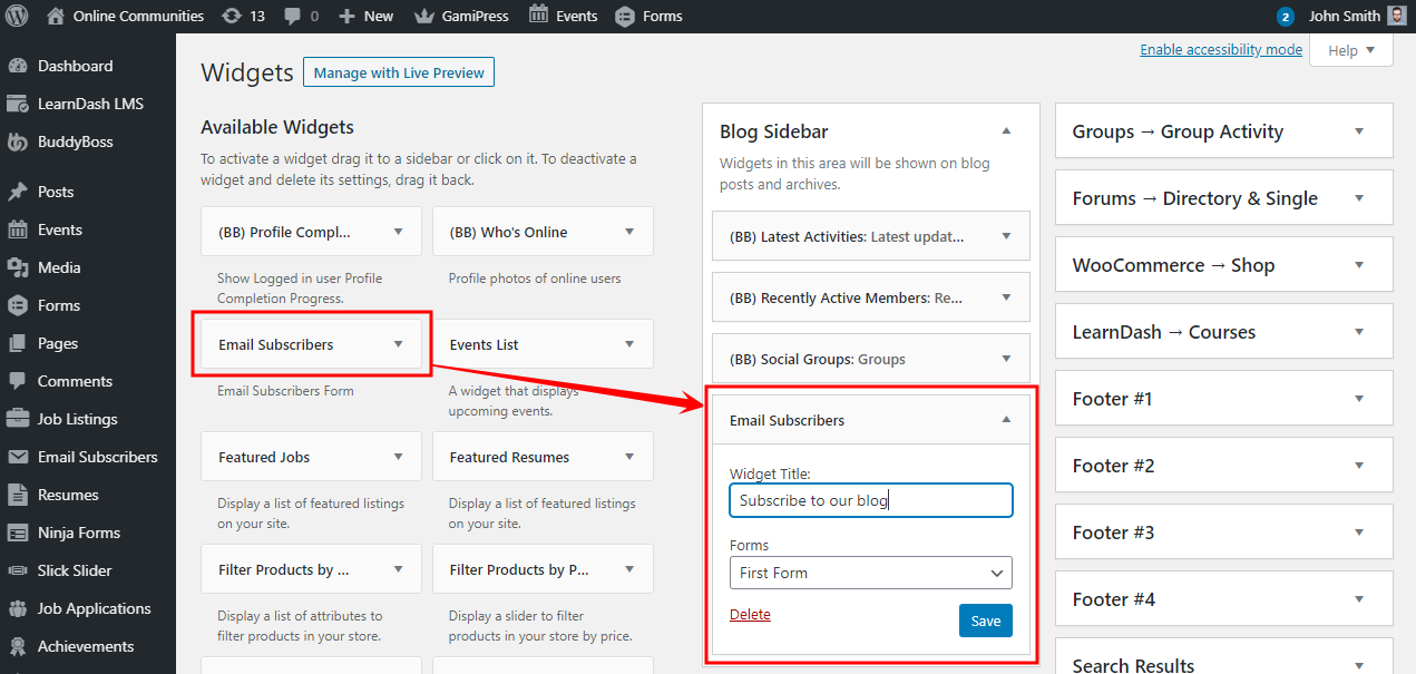 Email Subscribers & Newsletters - Adding the form widget to a page or post