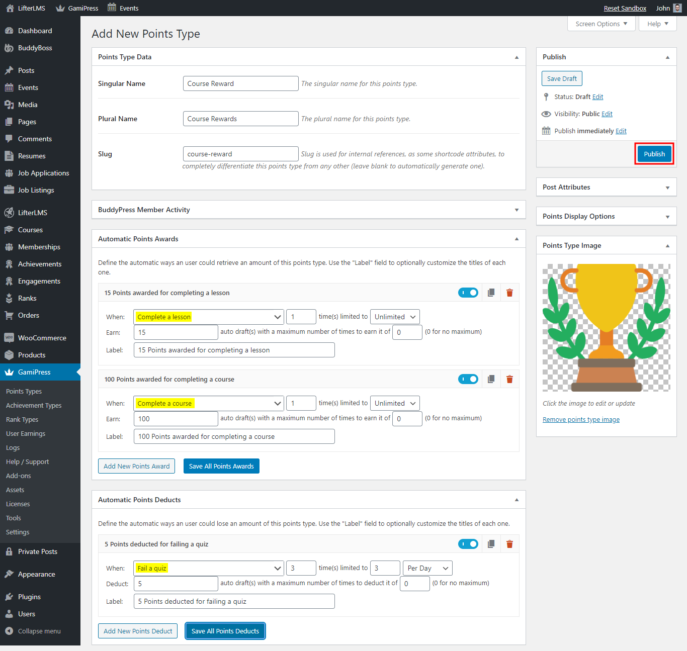 GamiPress - LifterLMS Integration - Creating point type for LifterLMS events