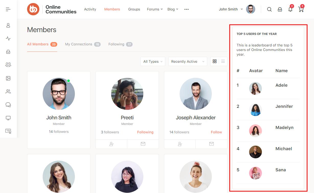 Leaderboards - Leaderboard widget preview