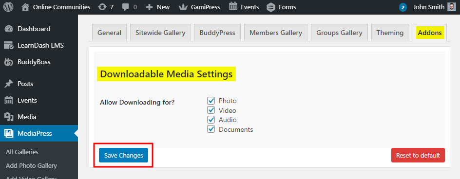 MediaPress Downloadable Media - Setting up the plugin