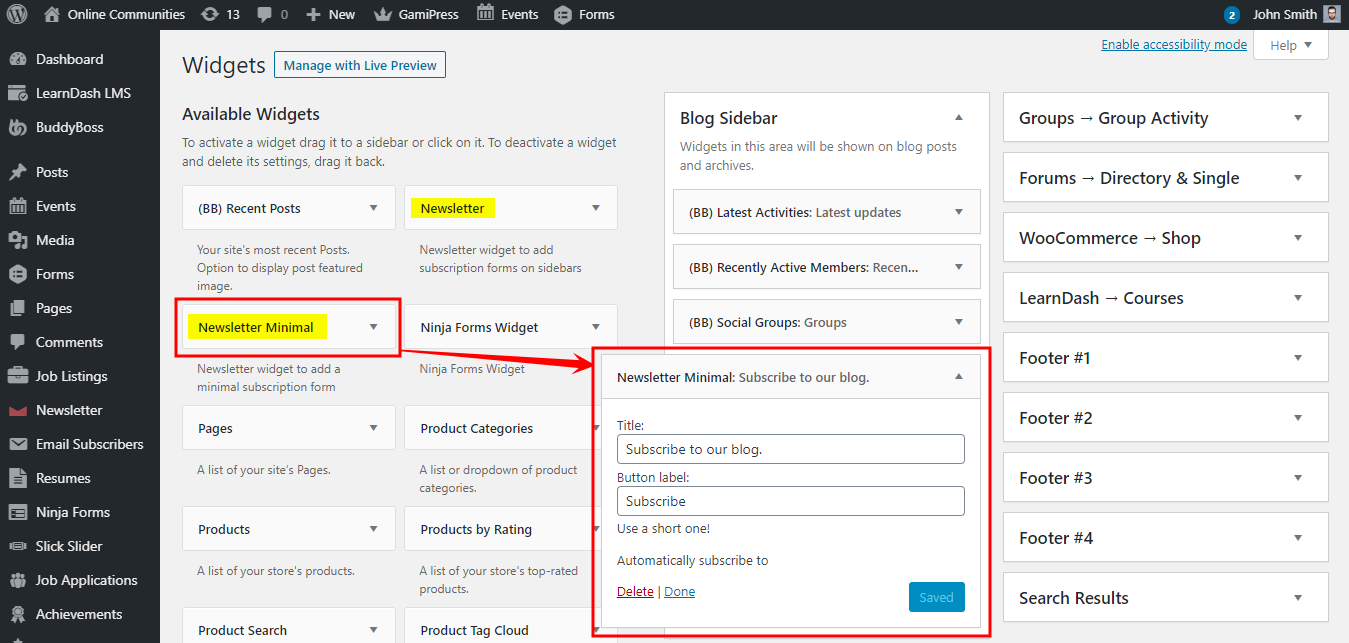Newsletter - Adding the form widget to a page or post
