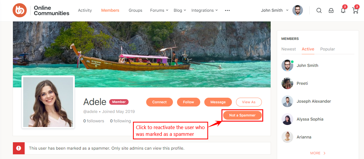 One Click Mark Spammer - Reactivating a user marked as a spammer from the user's profile