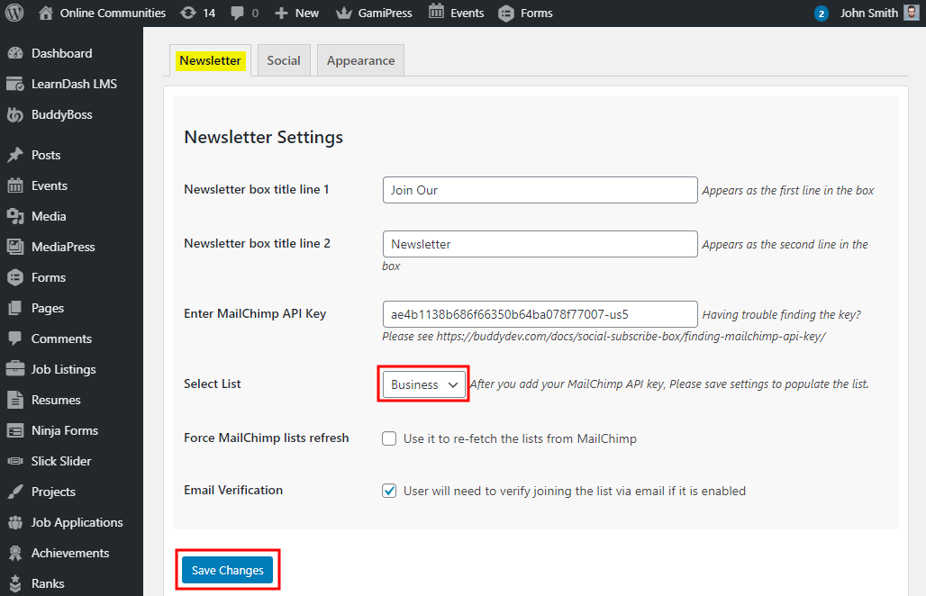 Social Subscribe Box - Setting up the plugin